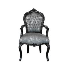 Barockstuhl mit Armlehne schwarz/silber-gemustert