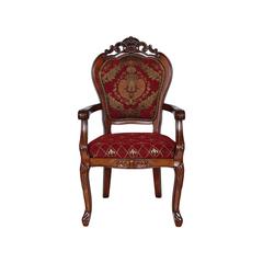 Barock Stuhl mit Armlehne Louis Chic braun/rot-gemustert