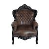 Barock Sessel schwarz/Lederoptik Textil