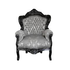 Barock Sessel schwarz/silber-gemustert
