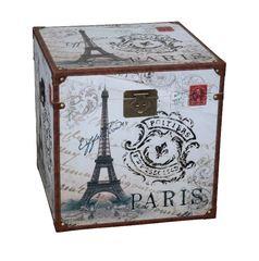 Vintage Truhe Eiffel Cube weiss gross