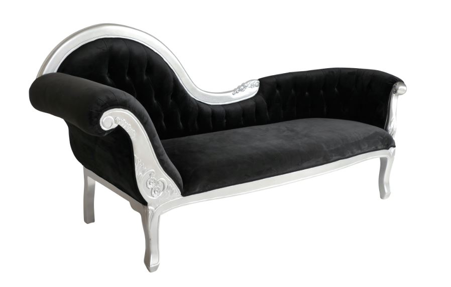 Barock lounge kings chaise lounge schwarz silber 25201 %281%29