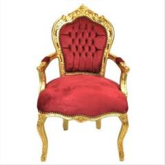 Barock Stuhl mit Armlehne gold/bordeaux