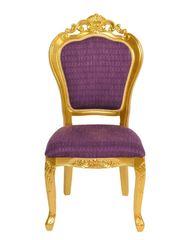 Barock Stuhl Louis Chic ohne Arm gold/violett