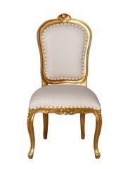 Louis XV Cube Stuhl gold/weiss Mahagoni