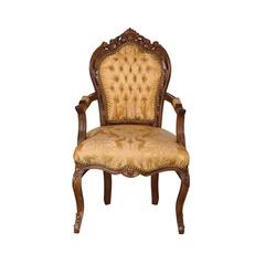 Barock Stuhl mit Armlehne braun/gold-gemustert