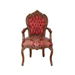 Barock Stuhl mit Armlehne braun/bordeaux-gemustert