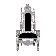 Kings Louis XV Thron Sessel Löwe silber/schwarz