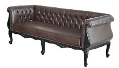 Chesterfield Sofa black night 3er braun