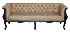 Chesterfield Sofa black night 3er caramel