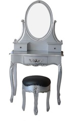 Schmink Tisch Mahagoni mit Hocker silber