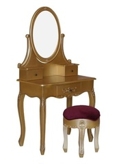 Schmink Tisch Mahagoni mit Hocker gold