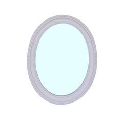 Spiegel Oval mit Facettenschliff Weiss