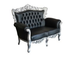 Barock Sofa Grande 3 Sitzer Silber/Schwarz